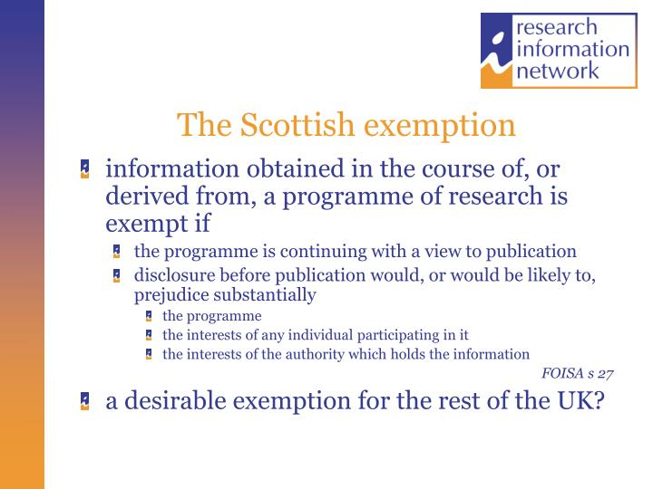 The Scottish exemption