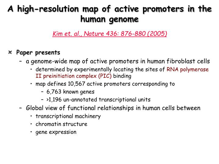 A high-resolution map of active promoters in the human genome