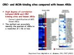 orc and mcm binding sites compared with known arss