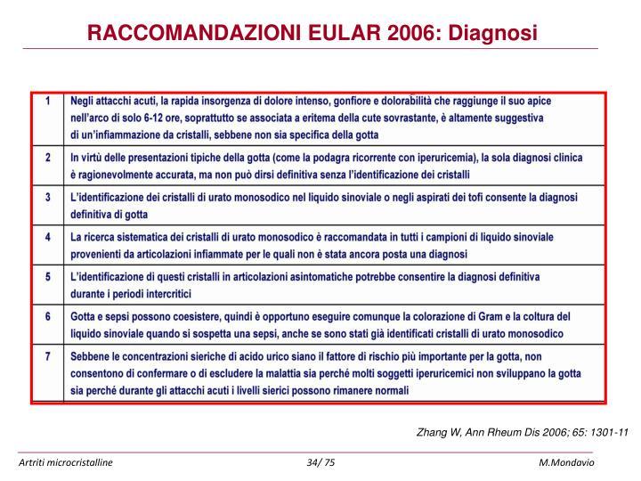 RACCOMANDAZIONI EULAR 2006: Diagnosi