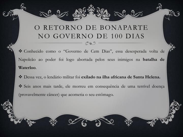 O retorno de Bonaparte no governo de 100 dias
