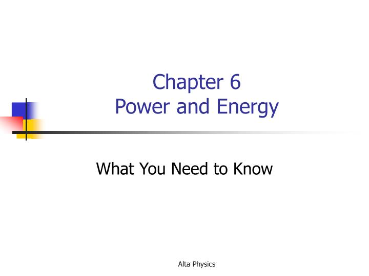 Chapter 6 power and energy