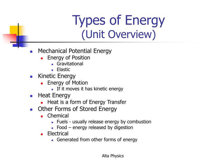 Types of energy unit overview