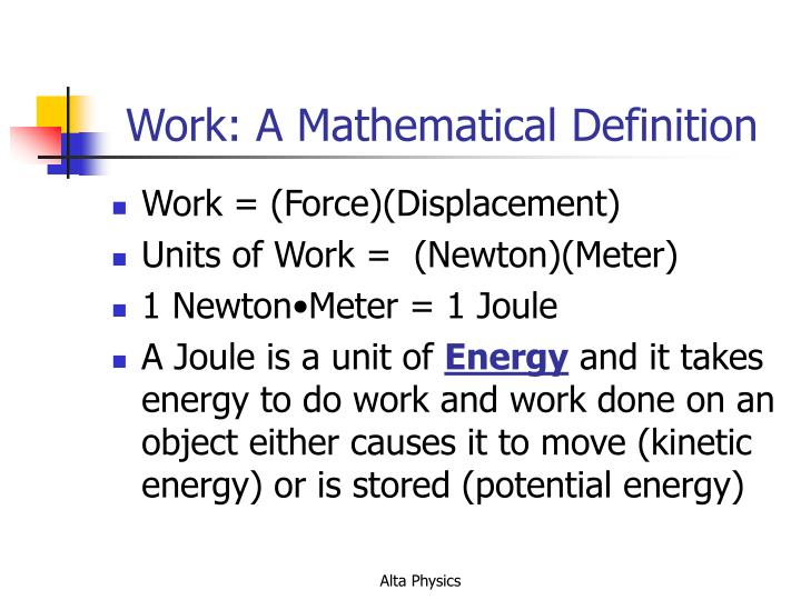 Work: A Mathematical Definition