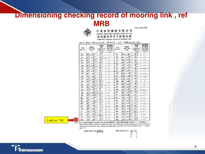 Dimensioning checking record of mooring link , ref MRB