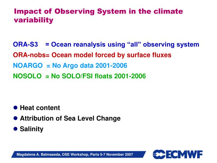 Impact of Observing System in the climate variability