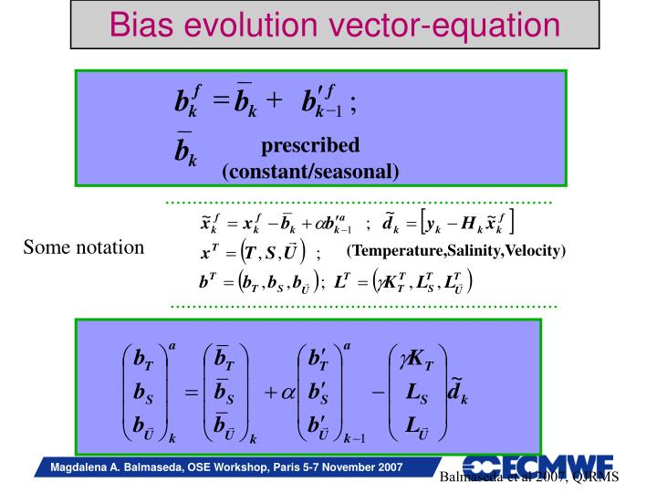 Bias evolution vector-equation