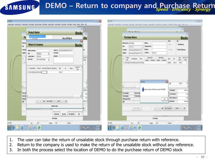 DEMO – Return to company and Purchase Return
