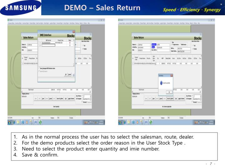 DEMO – Sales Return