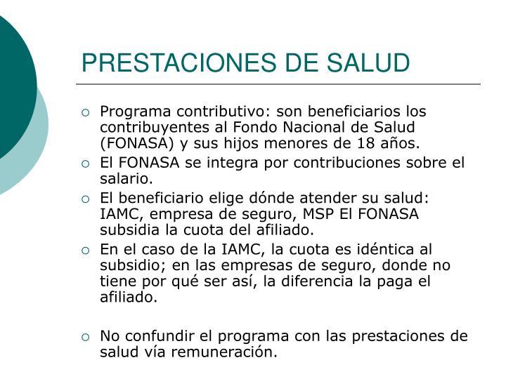 PRESTACIONES DE SALUD