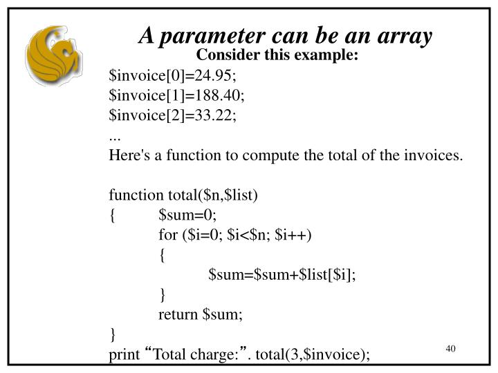 A parameter can be an array