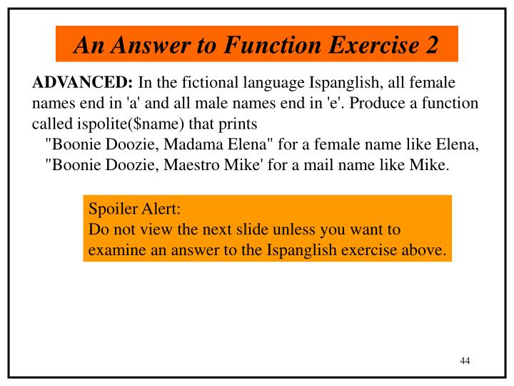 An Answer to Function Exercise 2