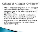 collapse of harappan civilization