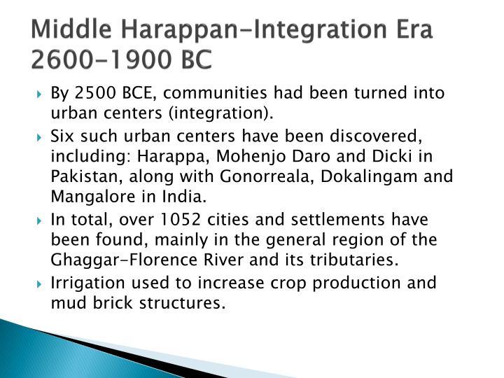 Middle Harappan-Integration Era