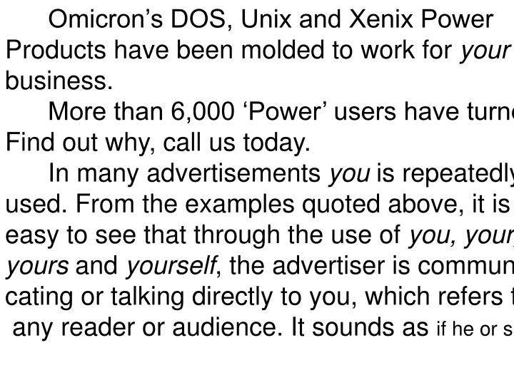 Omicron's DOS, Unix and Xenix Power