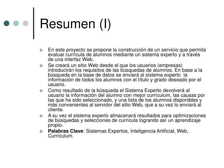 Resumen (I)