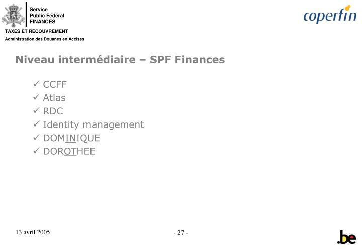 Niveau intermédiaire – SPF Finances