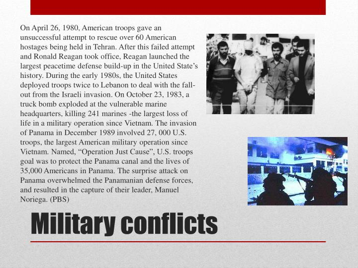 On April 26, 1980, American troops gave an unsuccessful attempt to rescue over 60 American hostages being held in Tehran. After this failed attempt and Ronald Reagan took office, Reagan launched the largest peacetime defense build-up in the United State's history. During the early 1980s, the United States deployed troops twice to Lebanon to deal with the fall-out from the
