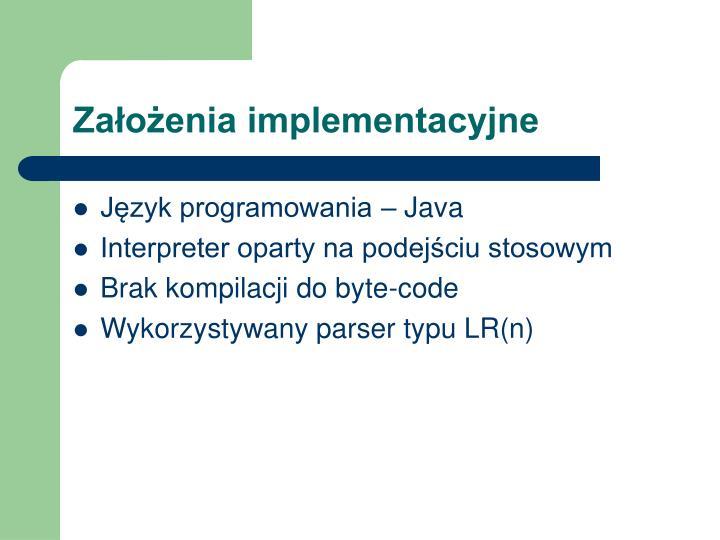 Założenia implementacyjne