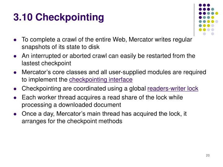3.10 Checkpointing