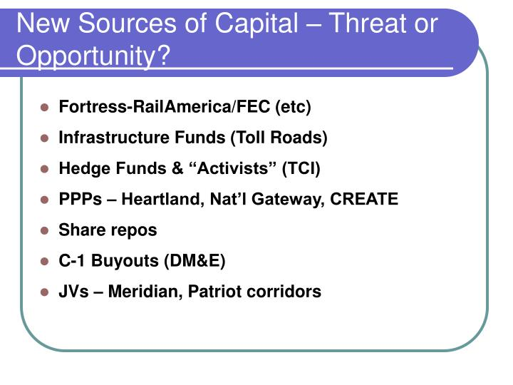 New Sources of Capital – Threat or Opportunity?