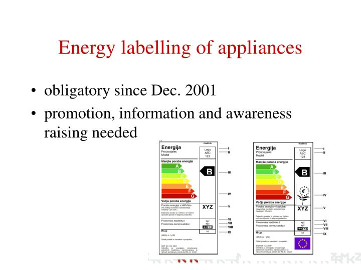 Energy labelling of appliances