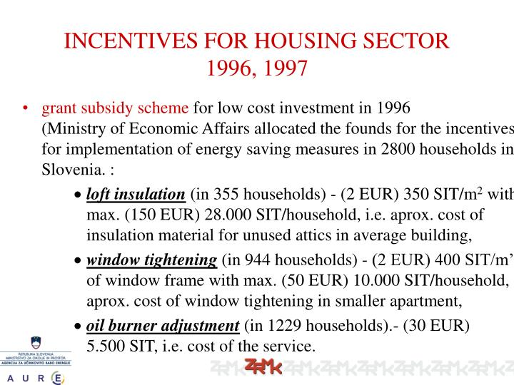 INCENTIVES FOR HOUSING SECTOR 1996, 1997