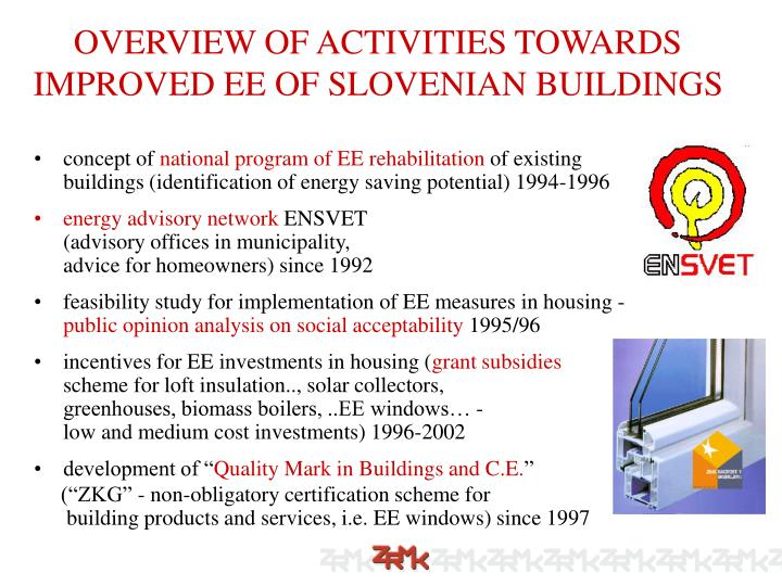 OVERVIEW OF ACTIVITIES TOWARDS IMPROVED EE OF SLOVENIAN BUILDINGS