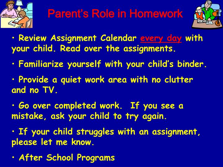 Parent's Role in Homework