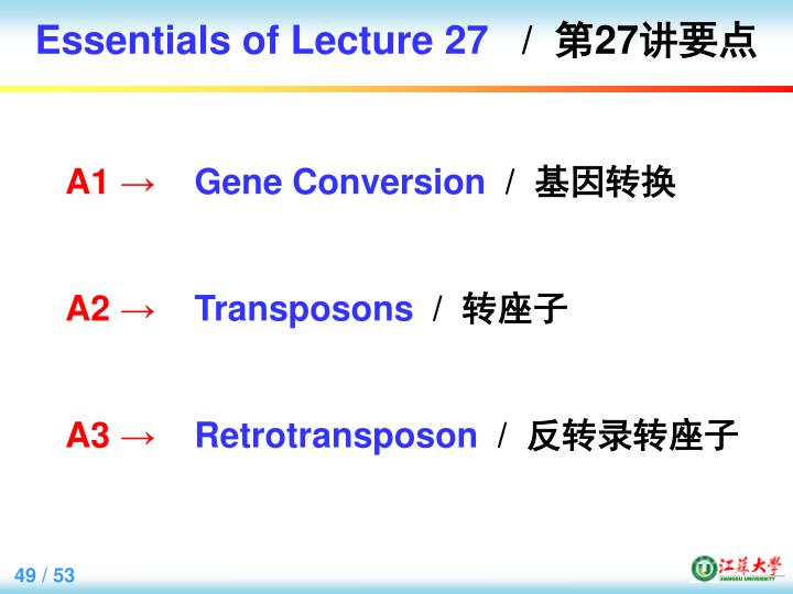 Essentials of Lecture 27