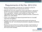 requirements of act no 2012 3147