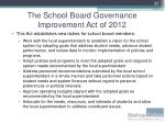 the school board governance improvement act of 20126