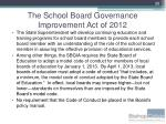 the school board governance improvement act of 20127