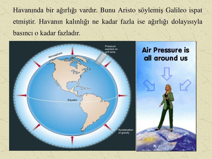 Havanında bir ağırlığı vardır. Bunu Aristo söylemiş Galileo ispat etmiştir. Havanın kalınlığı ne kadar fazla ise ağırlığı dolayısıyla basıncı o kadar fazladır.
