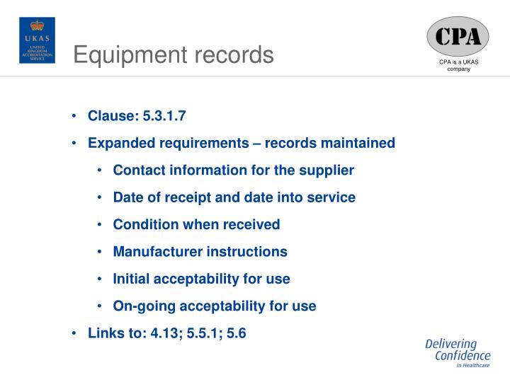 Equipment records