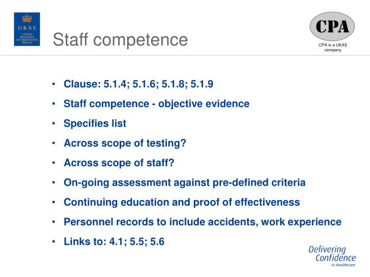 Staff competence