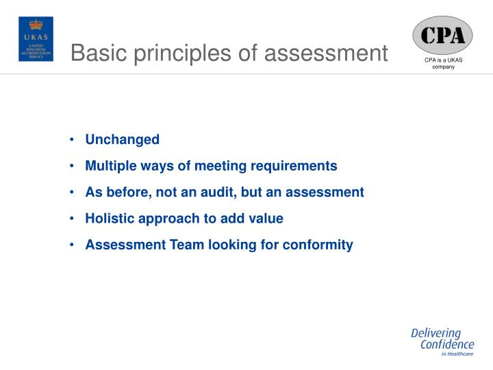 Basic principles of assessment