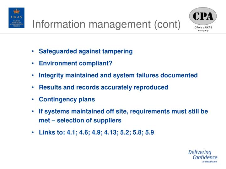 Information management (cont)