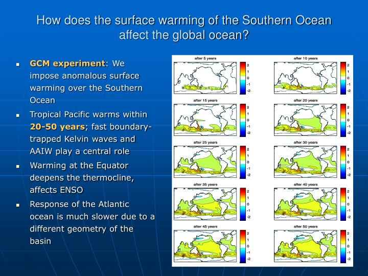 How does the surface warming of the Southern Ocean affect the global ocean?
