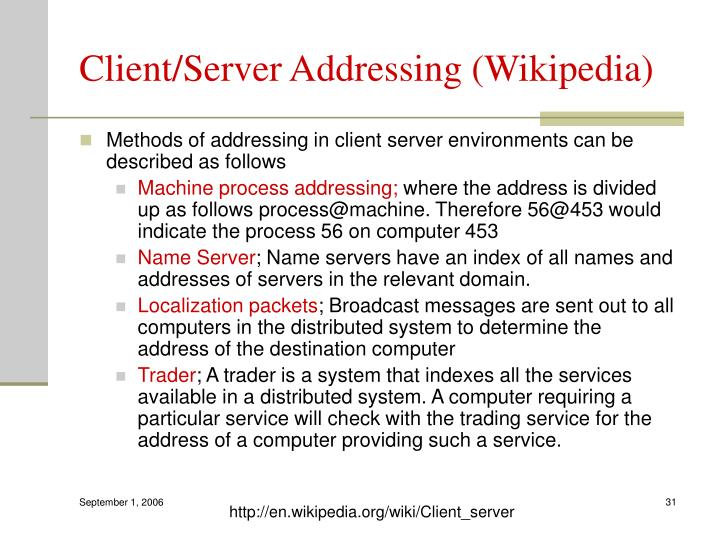 Client/Server Addressing (Wikipedia)