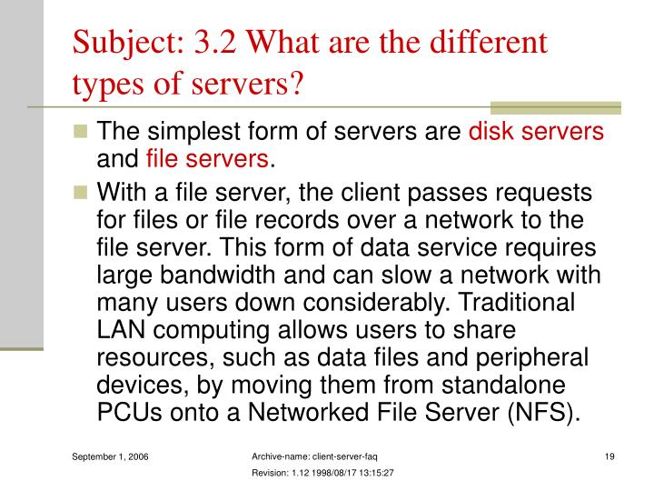 Subject: 3.2 What are the different types of servers?