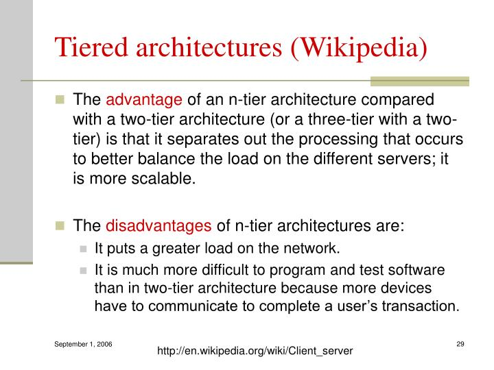 Tiered architectures (Wikipedia)