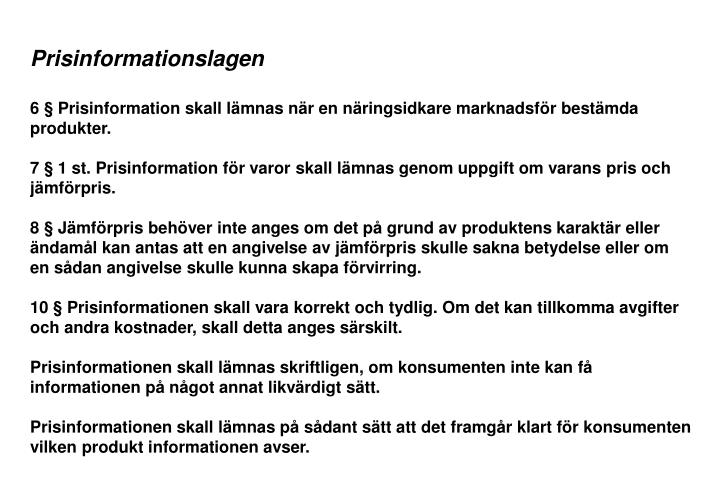 Prisinformationslagen
