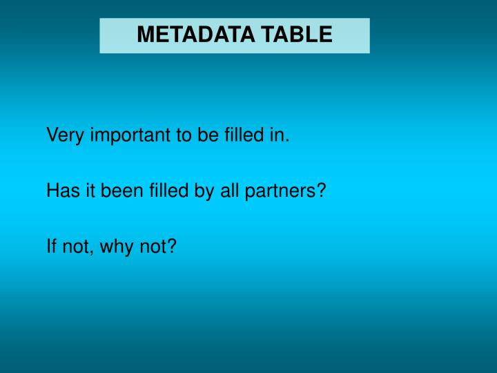 METADATA TABLE