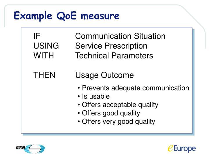 Example QoE measure