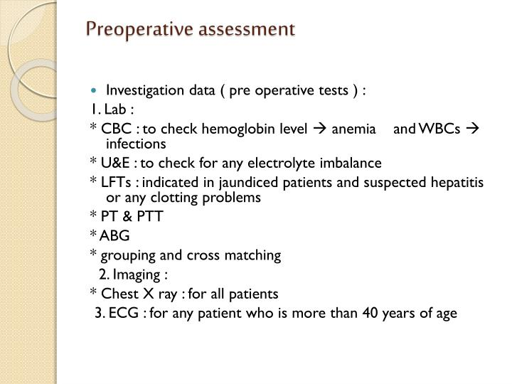 Preoperative assessment