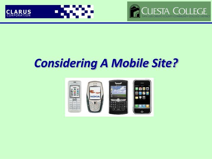 Considering A Mobile Site?