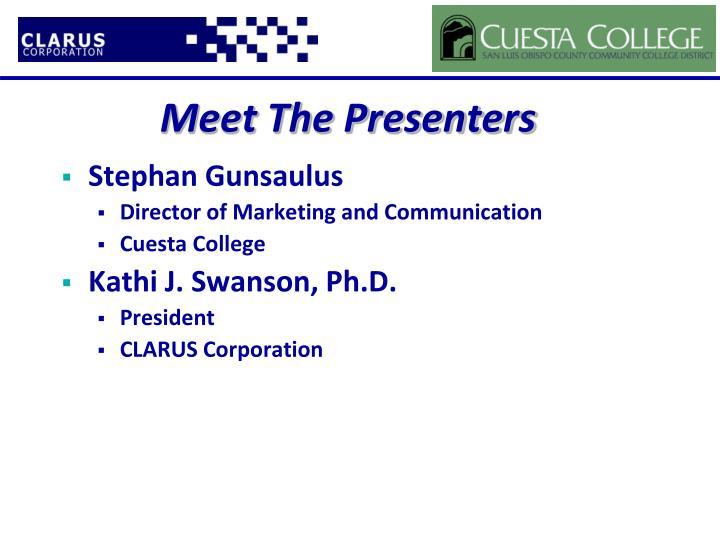 Meet The Presenters