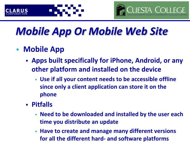 Mobile App Or Mobile Web Site