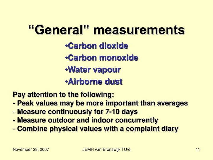 """General"" measurements"